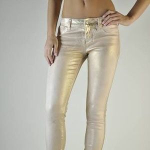 RICH & SKINNY METALLIC GOLD JEANS
